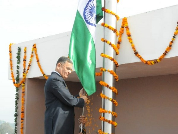 HPHC MD KK Mishra hoists flag atop corporation building on Wednesday. Photo/ANI