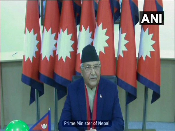 Nepalese Prime Minister KP Sharma Oli speaking via video conferencing on Tuesday