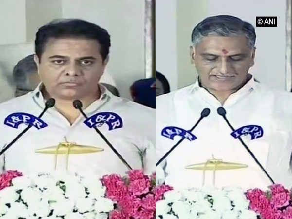 Telangana: K T Rama Rao, T Harish Rao take oath as ministers