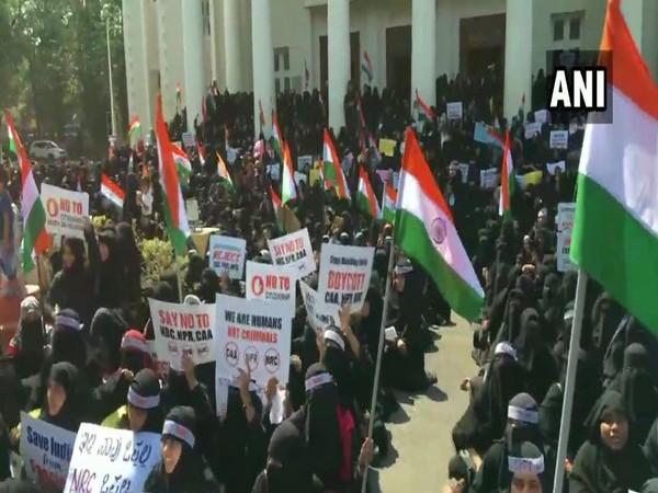 Women India Movement on Saturday organised a protest against CAA, NRC in Mangaluru. Photo/ANI