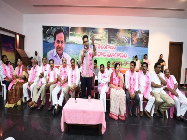 TRS working president KT Rama Rao at a meeting with ministers, MLAs, MPs and other public representatives who worked for the party's victory in Huzurnagar by-elections.