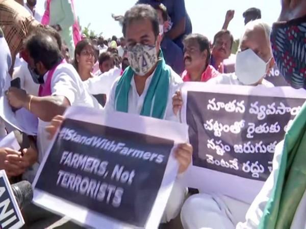 TRS working president, K.T.Rama Rao in 'Rasta Roko' protest (Photo ANI)