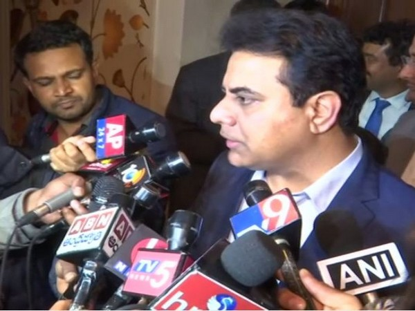 Telangana IT Minister KT Rama Rao speaking with reporters on the sidelines of an event in Delhi on Thursday. (Photo/ANI)