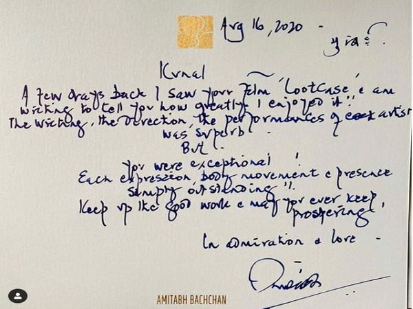 Legendary actor Amitabh Bachchan's handwritten note for actor Kunal Kemmu (Image source: Instagram)