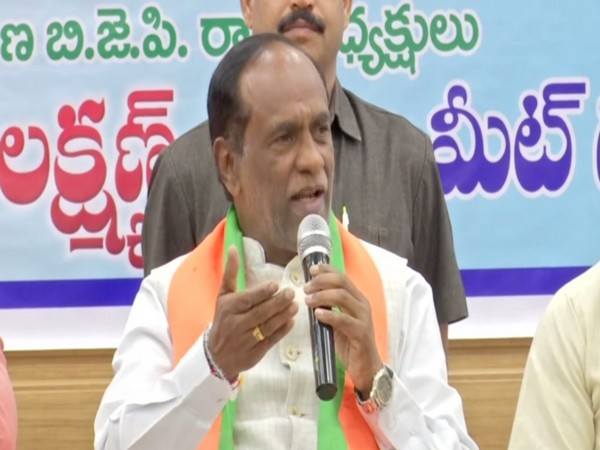 Telangana BJP president K Laxman speaking at an event in Hyderabad, Telangana on Thursday. Photo/ANI