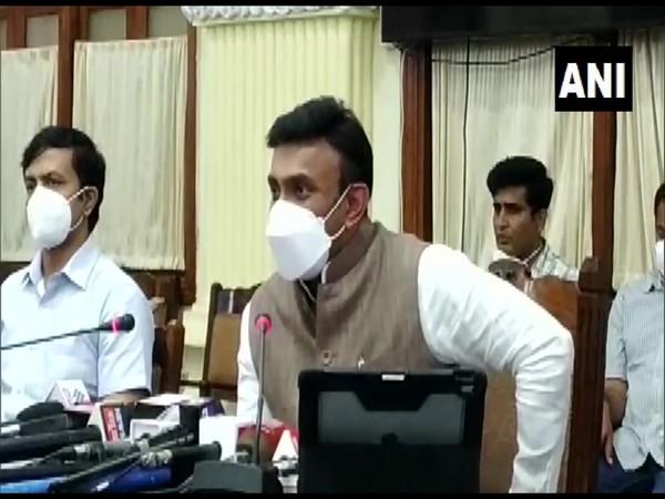 Karnataka Health Minister K Sudhakar speaking to media on Monday. (Photo/ANI)