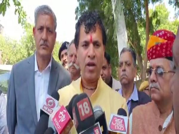 Union Miniter Kailash Choudhary speaks to media in Jaipur on Saturday. (Photo/ANI)