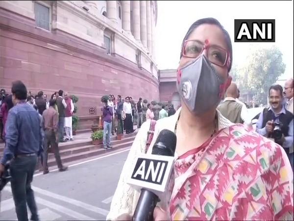TMC lawmaker Kakoli Ghosh Dastidar wearing a mask while speaking to ANI in New Delhi on Tuesday.