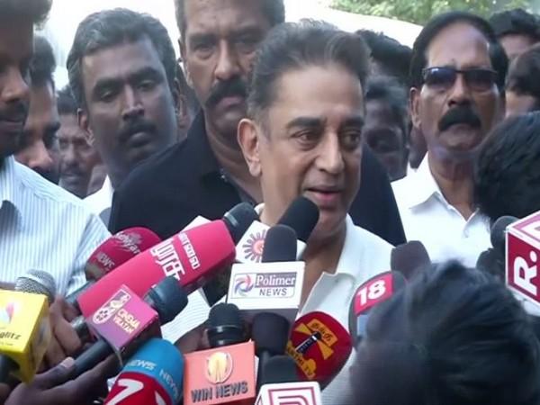 Actor Kamal Haasan speaking to reporters in Chennai on Thursday. Photo/ANI