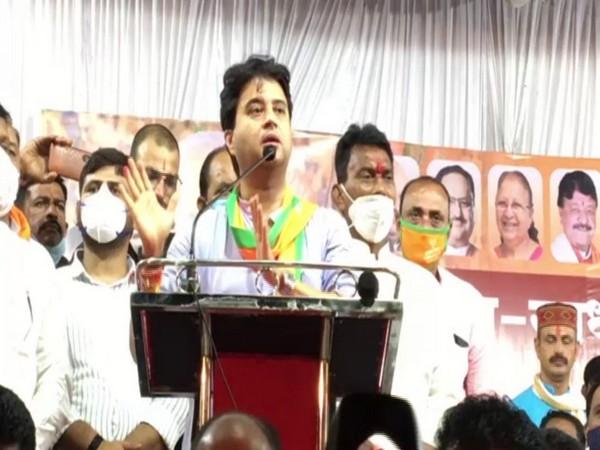 BJP leader Jyotiraditya Scindia speaking at the rally on Sunday. Photo/ANI