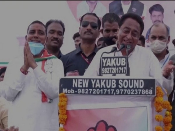 Congress leader Kamal Nath speaking at a public rally in Gwalior on Sunday. [Photo/ANI]