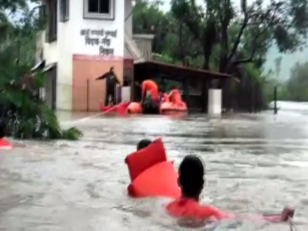 NDRF team rescues seven family members from Kamshet area in Pune on Sunday. Photo/ANI