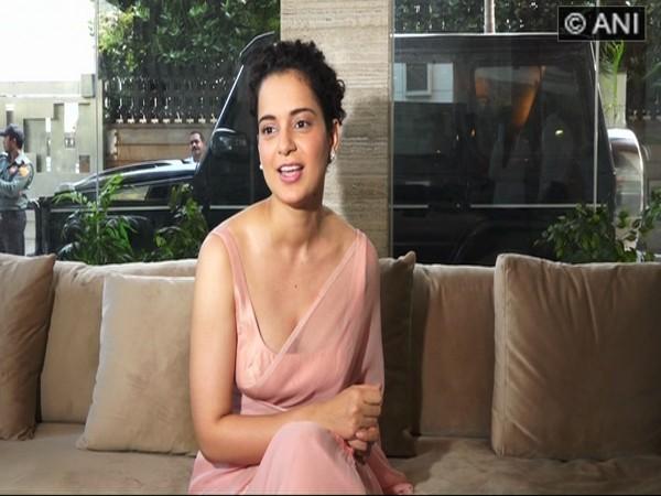 Kangana Ranaut speaking to the media in Mumbai on Saturday.