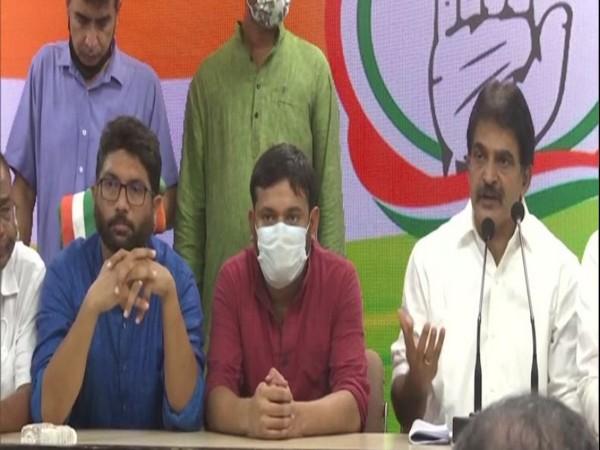 Kanhaiya Kumar and Jignesh Mewani joined Congress in the presence of Rahul Gandhi at AICC headquarters in New Delhi on Tuesday.