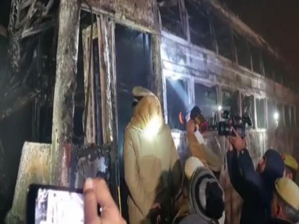 A forensics team visited the bus in Kannauj, Uttar Pradesh early on Saturday. Photo/ANI
