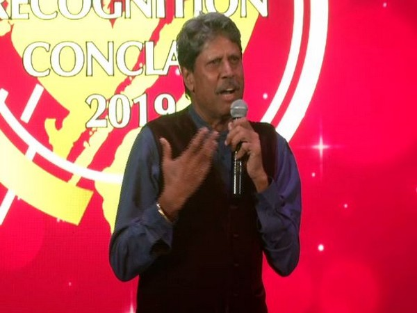Former cricketer Kapil Dev speaking at an event in New Delhi on Sunday. Photo/ANI