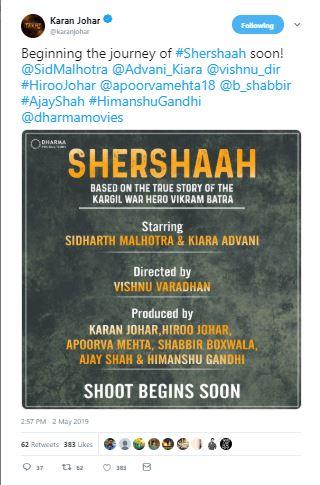 Shooting for 'Shershaah' to begin soon