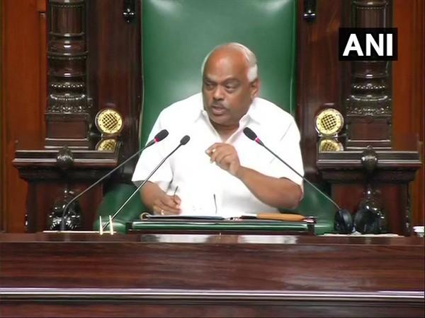 Karnataka Assembly Speaker KR Ramesh speaking in the assembly on Thursday.