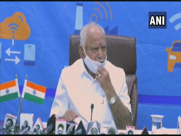 Karnataka CM BS Yediyurappa speaking at the press conference on Friday. Photo/ANI