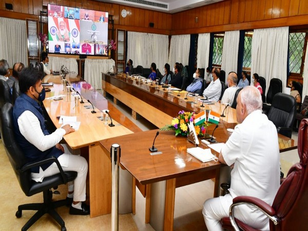 Karnataka Chief Minister BS Yediyurappa, State Health Minister Dr. K. Sudhakar joined video conference with Prime Minister Narendra Modi (Photo: Twitter)