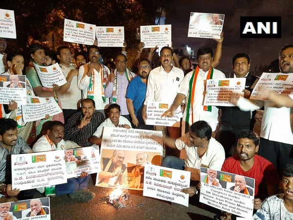 Congress workers protesting in Bengaluru on Tuesday. Photo/ANI