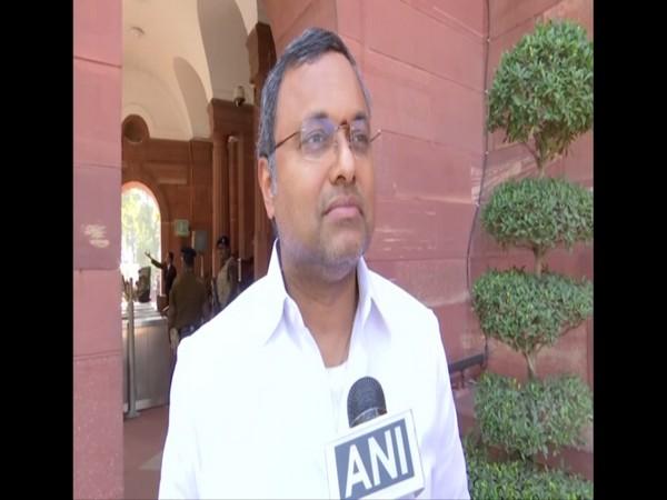 Karti Chidambaram speaking to ANI in the Parliament premises on Monday