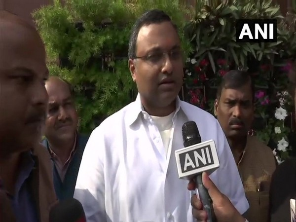 Congress MP Karti Chidambaram speaking to ANI on Wednesday. Photo/ANI