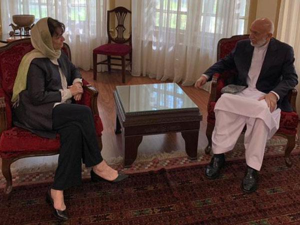 UN Special Representative Deborah Lyons meets former Afghanistan president Hamid Karzai