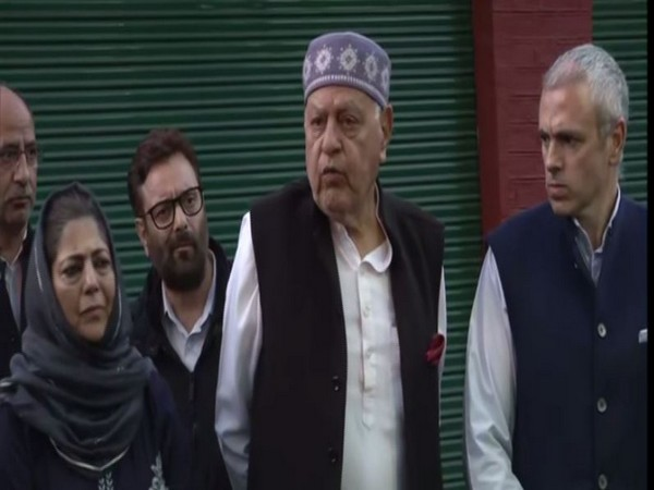 National Conference (NC) president Farooq Abdullah speaking to media on Thursday. Photo/ANI