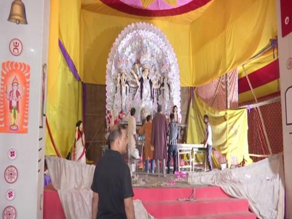Durga puja celebration at Kashmiri Gate in New Delhi. Photo/ANI