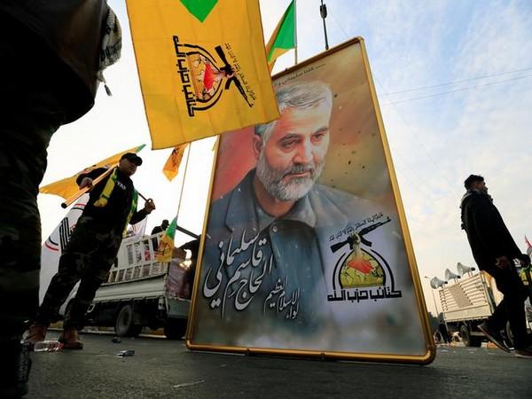 Kataib Hezbollah Iraqi militia gathering ahead of the funeral of victims of US targeted air strike at Baghdad airport.