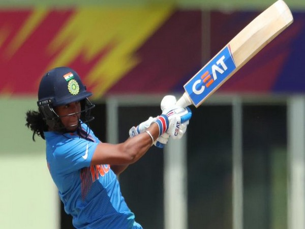 India skipper Harmanpreet Kaur while playing a shot. (Photo/ICC Twitter)