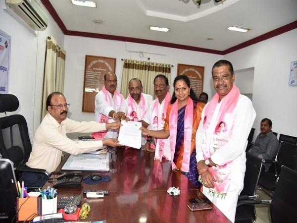 Nizamabad sitting MP K Kavitha filing her nomination for the ensuing Lok Sabha elections in Telangana. Photo: ANI