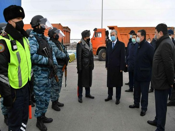 Kazakh President Kassym-Jomart Tokayev at a checkpoint  set up to lock down Nur-Sultan