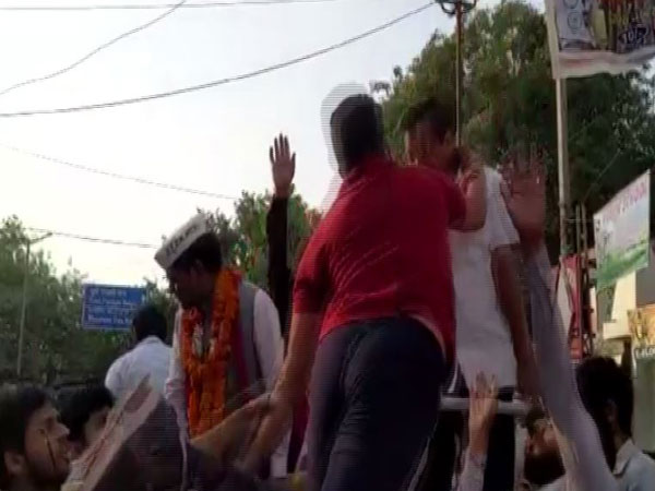 Delhi Chief Minister Arvind Kejriwal was attacked while he was conducting a road-show in New Delhi on Saturday. Photo/ANI