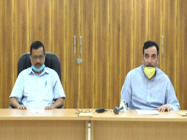 Delhi Chief Minister Arvind Kejriwal with Minister for Labour, Employment Gopal Rai at a press conference on Monday. [Photo/ANI]