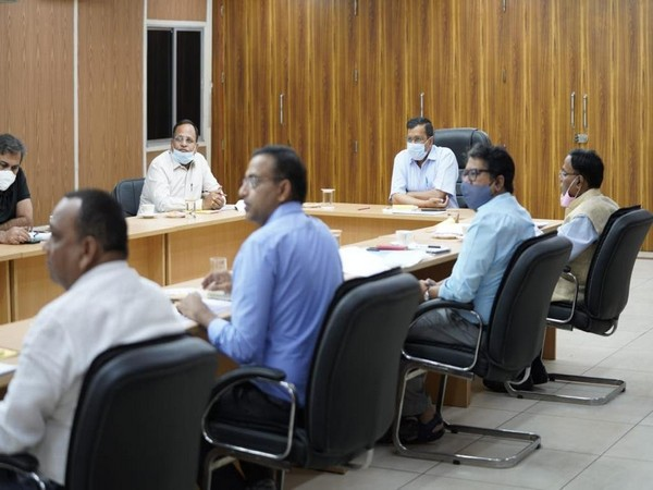 Delhi Chief Minister Arvind Kejriwal and other officials at the meeting called to prepare the action plan in wake of increse in COVID-19 cases in the national capital.