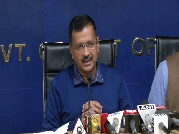 Delhi Chief Minister Arvind Kejriwal speaking to reporters in New Delhi on Friday. Photo/ANI