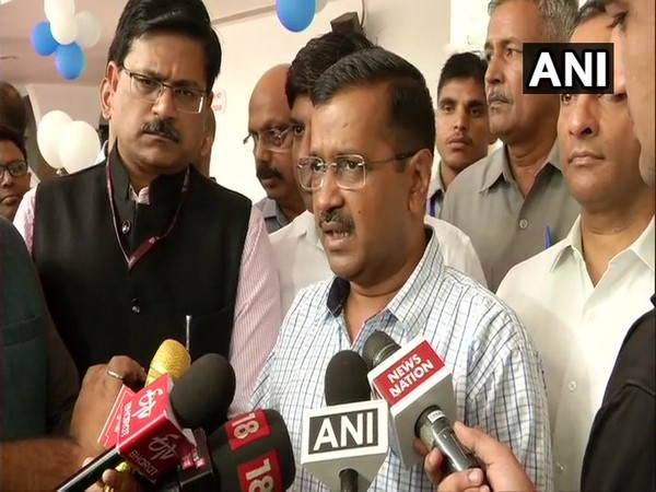 Delhi Chief Minister Arvind Kejriwal while talking to reporters on Monday