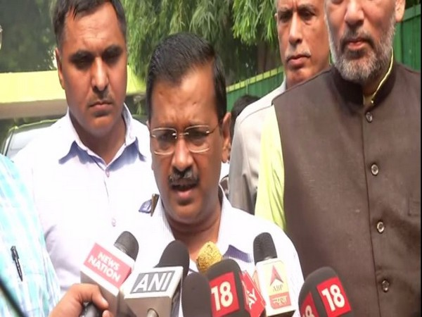 Delhi Chief Minister Arvind Kejriwal speaking to reporters on Monday