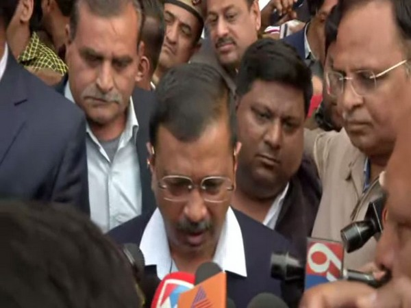 Delhi Chief Minister Arvind Kejriwal speaking to reporters in New Delhi on Sunday. Photo/ANI