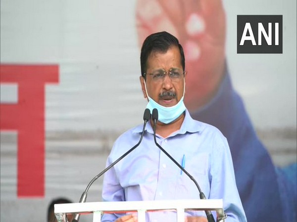 Delhi Chief Minister Arvind Kejriwal at a public rally on Sunday.
