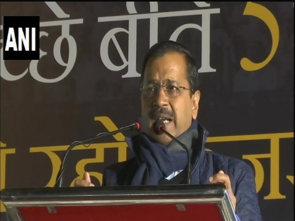 Delhi Chief Minister Arvind Kejriwal speaking at a public rally in New Delhi on Saturday. Photo/ANI