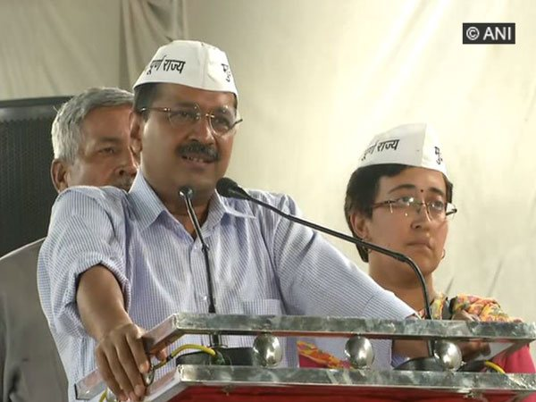 CM Arvind Kejriwal speaking at a election rally in New Delhi on Friday.
