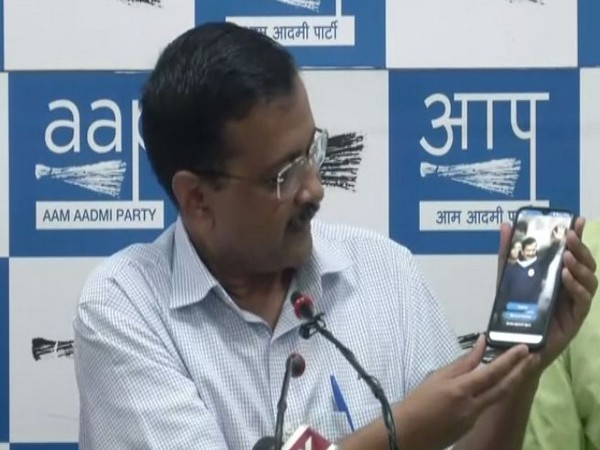 Delhi Chief Minister Arvind Kejriwal launching the 'AK App' during a press conference in New Delhi on Wednesday. Photo/ANI