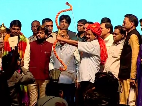 Delhi Chief Minister Arvind Kejriwal at Luv Kush Ramlila celebrations at the Red Fort grounds in Delhi on Tuesday. Photo/ANI