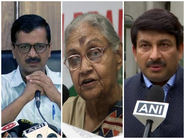 Delhi Chief Minister Arvind Kejriwal / late Congress leader Sheila Dikshit / BJP leader Manoj Tiwari (File photo)