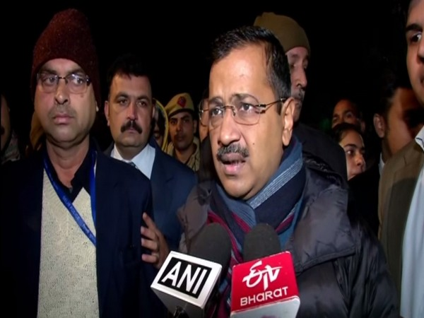 Delhi Chief Minister Arvind Kejriwal talking to reporters in New Delhi on Monday. Photo/ANI
