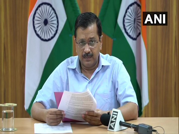 Delhi Chief Minister Arvind Kejriwal addressing a press conference on Monday. Photo/ANI