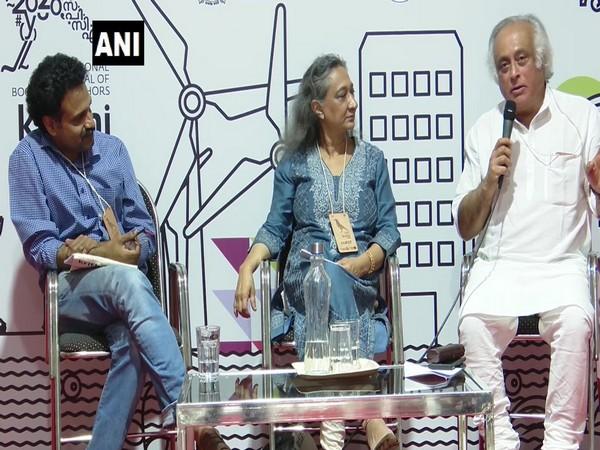 Jairam Ramesh speaking at the book fair in Kochi on Thursday. Photo/ANI